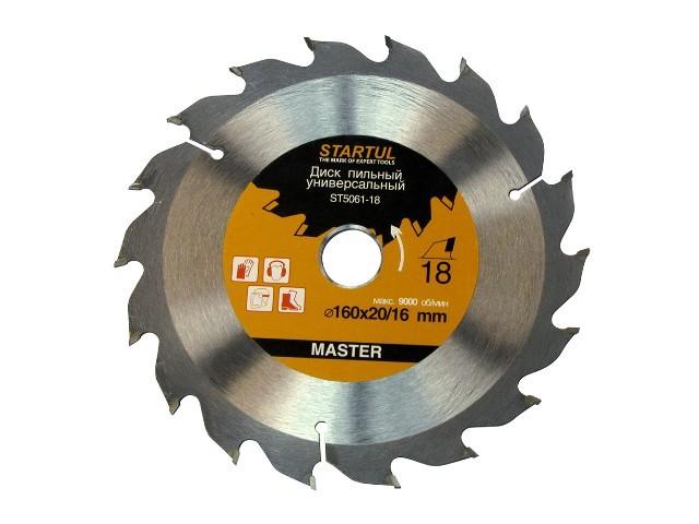Диск пильный 160х20/16 мм 60 зуб. по дереву STARTUL (твердоспл. зуб)