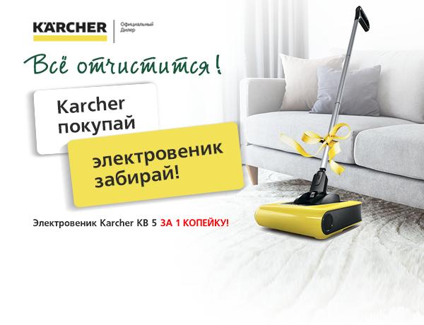 Электровеник в подарок при покупке техники Karcher