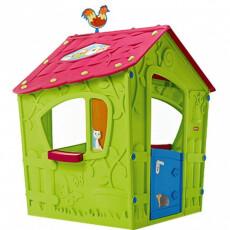 Детский Игровой Домик Keter  - MAGIC PLAYHOUSE, зеленый корпус, малиновая крыша, бирюзовая дверь