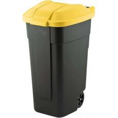 Контейнер для мусора на колесах REFUSE BIN 110 л, черный/желтый