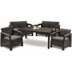 Набор уличной мебели (две двухместные скамьи, стол, два кресла) CORFU II FIESTA, коричневый