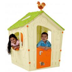 Детский Игровой Домик Keter  - MAGIC PLAYHOUSE бежевый корпус, зеленая крыша, оранжевая дверь