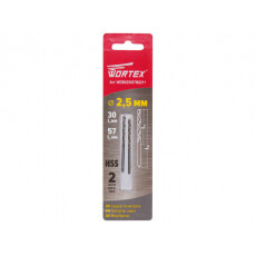 Сверло по металлу ц/х 2.5х30х57 мм HSS, комплект из 2-х шт WORTEX