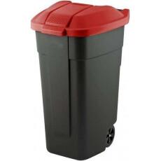 Контейнер для мусора на колесах REFUSE BIN 110 л, черный/красный