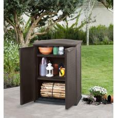 Шкаф уличный Keter Compact Garden Rattan низкий (коричневый)