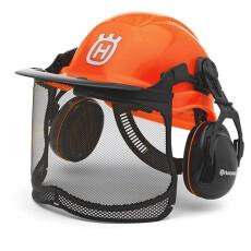 Шлем защитный Husqvarna Functional флуоресцентный в комплекте с сеткой и наушниками