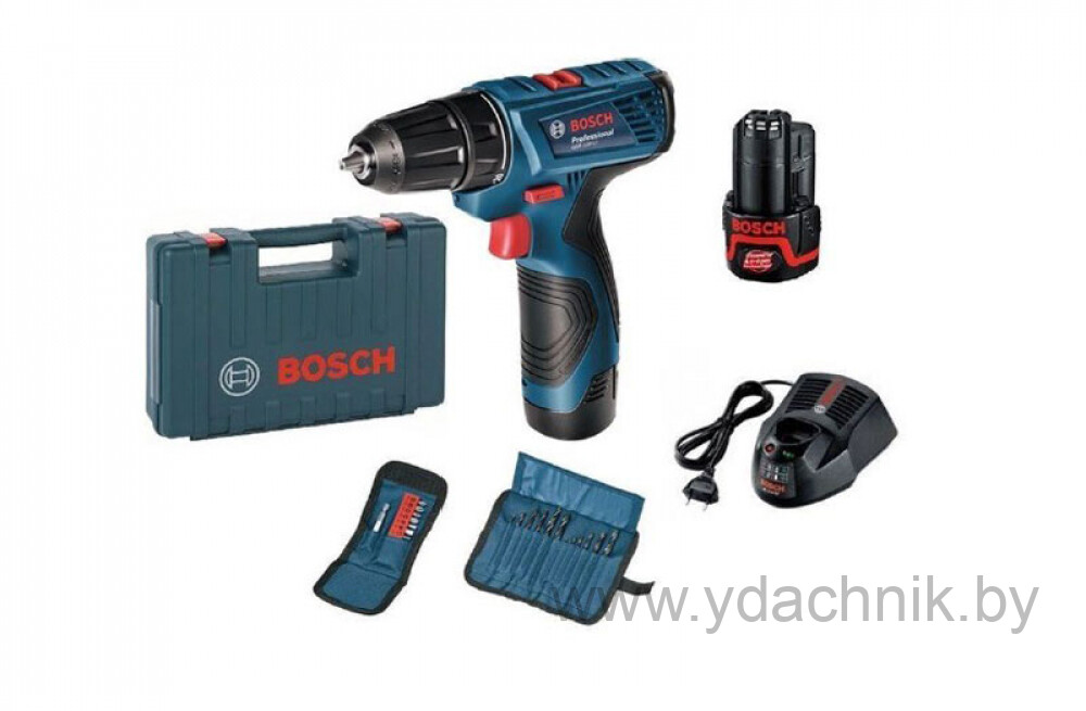 Аккумуляторная дрель-шуруповерт Bosch GSR 120-LI (2x1,5 А/ч) + набор бит + набор сверл